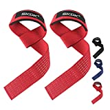 Cotton Hard Pull Wrist Lifting Straps Grips Band- Deadlift Straps with Neoprene Cushioned Wrist Padded and Anti-Skid Silicone - for Weightlifting, Bodybuilding, Xfit, Strength Training(Pair) (Red)
