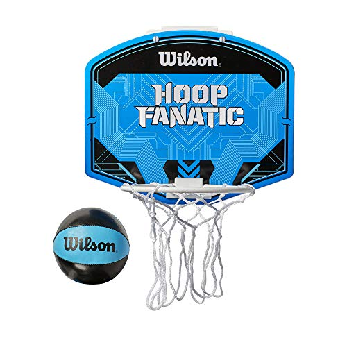 Wilson, Basketball, Mini-panier Fanatic, Incl. ballon, Avec support pour porte, Bleu/Noir, WTBA00436