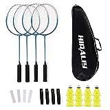 HIRALIY Lot de 4 Raquettes de Badminton pour Jeux de Famille en Plein air, 12 Volants en Nylon, 4 Raquettes, 4 Bandes antidérapantes...