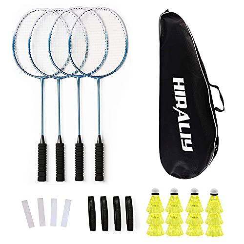 HIRALIY Lot de 4 Raquettes de Badminton pour Jeux de Famille en Plein air, 12 Volants en Nylon, 4 Raquettes, 4 Bandes antidérapantes de Rechange et 1 Sac de Transport