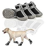 TBoxBo Zapatos para perros transpirables, antideslizantes, resistentes al desgaste, impermeables, con correas reflectantes seguras para perros pequeños, medianos y grandes, suministros