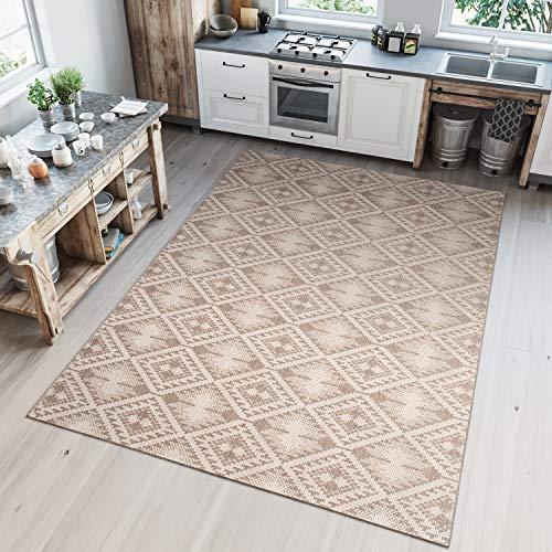 Tapiso Floorlux Teppich Flachgewebe Sisal Optik Taupe Champagne Modern Vierecke Meliert Verwischt Design Indoor Küche Wohnzimmer 120 x 170 cm
