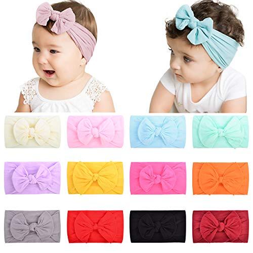 12PCS Haarschleifen Stirnbänder Nylon Elastic Hair Accessoires für Neugeborene, Kleinkinder, Kleinkinder und Kinder