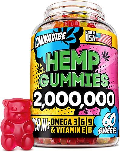 Cannavibe Hemp Gummies - Calm & Sleep Gummies with Hemp Extract - Made in USA - Rich in Vitamin B & Omega 3-6-9 - 60 Pcs
