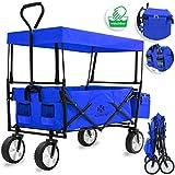 Kesser® Bollerwagen faltbar mit Dach Handwagen Transportkarre Gerätewagen | inkl. 2 Netztaschen...