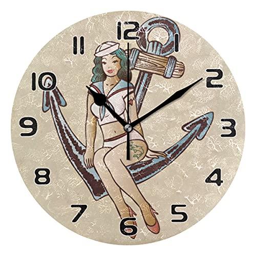 COZYhome - Reloj de pared moderno para mujer, náutico, clásico, con ancla, reloj de pared, silencioso, funciona con pilas, para sala de estar, dormitorio, cocina, oficina, escuela