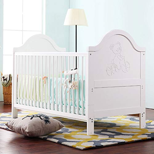 Lowest Prices! WDXIN Baby Cot Bed Safety Material Solid Wood Multifunctional European Baby Bed SGS S...
