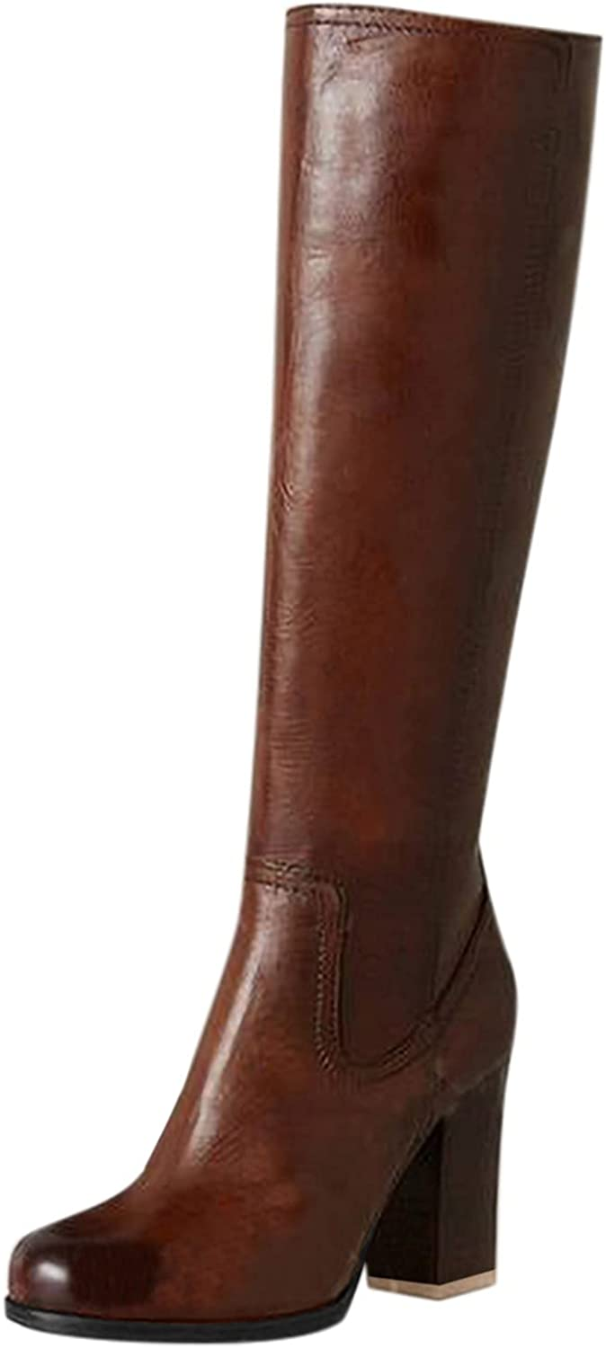 Boots For Women With Heel Wide Calf Western Boots for Women Cowboy Knee-High Boots Chunky Heel Mid Claf Boot Embroidery Slip on English Riding Equestrian Boots Multicoloured