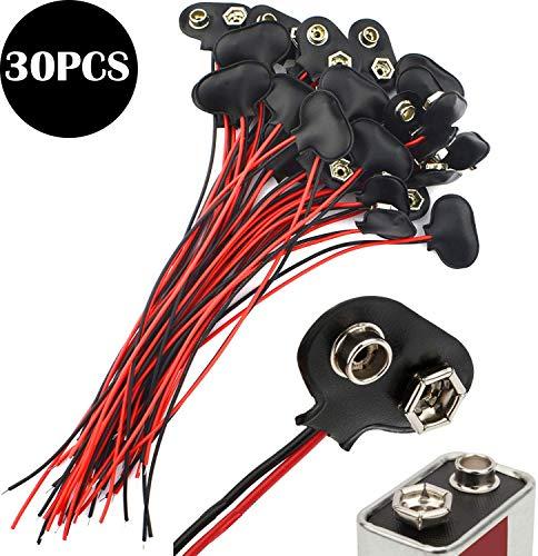 CESFONJER 30 stuks T-aansluitingen voor batterij 9 V leer AVCE kabel 15 cm voor LED-strips licht speelgoed verlichting afstandsbediening kleine elektronische producten