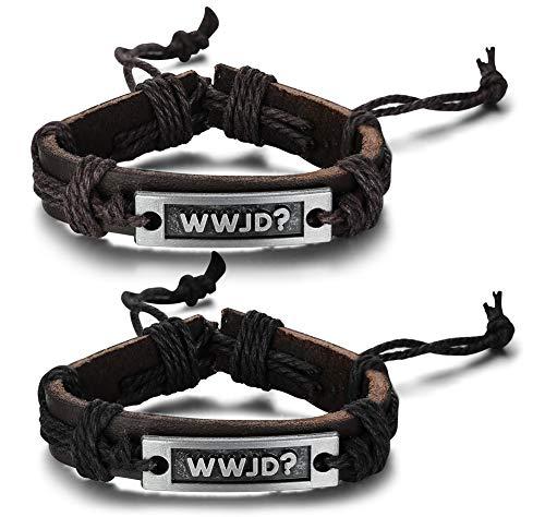 PJ Jewelry 2 Pack Religious What Would Jesus Do WWJD Braided Leather Bracelet Wristband for Men
