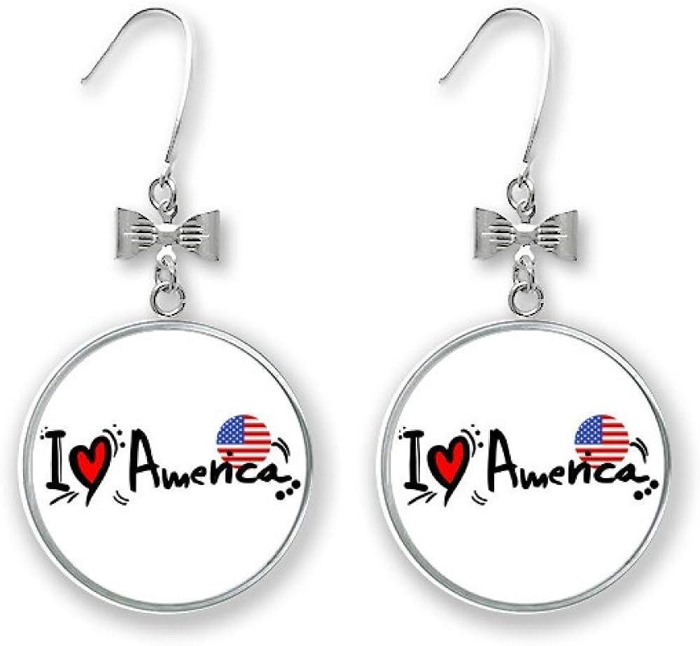 I Love America World Sale price Flag Heart Bow Brand new Earrings Drop Pierced H Stud