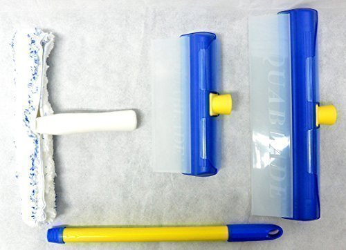 AquaBLADE Set Nr. 1-1x Kleiner und großer Wischer mit Silikonlippe, Wasserauffangrinne und externem Wasserauffangtank, 1x Einwascher, 1x Handgriff - Weltneuheit - bekannt aus dem TV