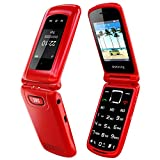 Uleway Unlocked Flip Phone 3G SOS Button Senior Flip Phones Unlocked 2.4'' Screen Easy to Use Basic Cell Phone for Seniors & Kids (Red)