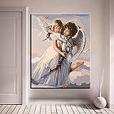 ganlanshu Quadro su Tela Senza Cornice Stampa Digitale di felicità Angelo su Tela Home Decor ufficio Wall art60X75cm