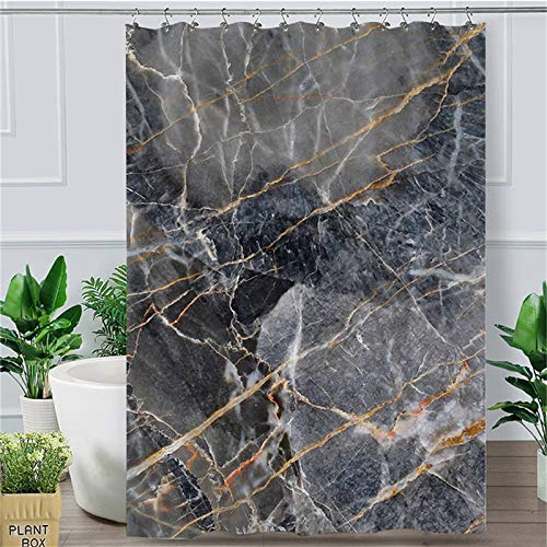 `Star Empty Shower curtain Marble Texture Shower Curtain Liquid Golden Waterproof Bath Curtain With Hooks Rock Stone Abstract Home Art Decor (Color : 3, Size : 150x180cm)