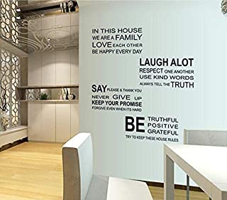 DIY Removable Wall Stickers For Living Room Home Decor - In This House English Quotes