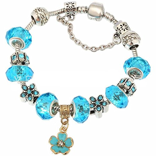 CarShi Crystal Charm Bracciale Vetro Perline Serpente Catena In Rilievo Intagliato Sicurezza Chain(Pack Of 2) . 19Cm