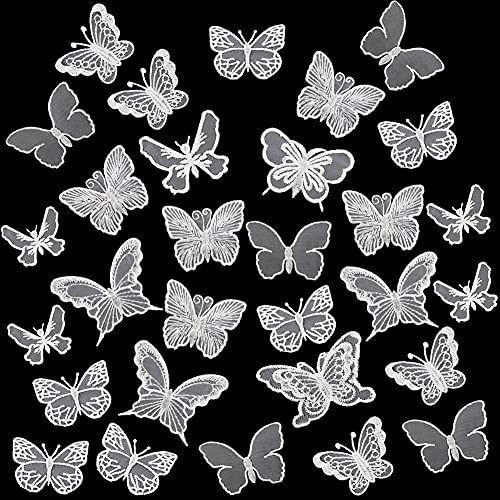 30 PCS Lace Butterfly Applique Embroidery Butterfly Sew Iron On Patch, Organza Patches Butterfly Applique for Wedding Bridal Dress Sewing Craft DIY Clothes Hair Ornaments (White)