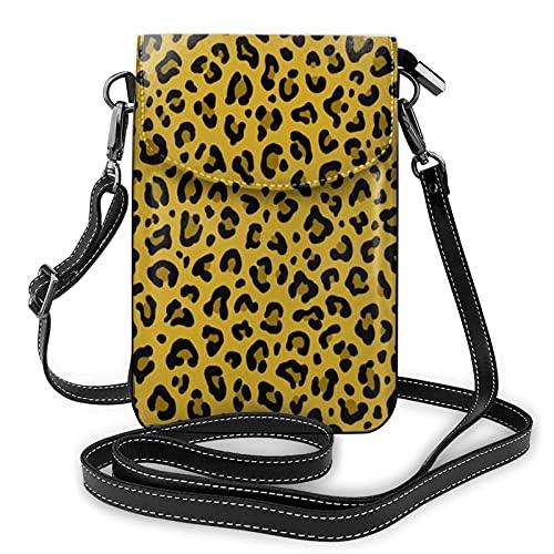 Bolso cruzado pequeño con estampado de leopardo para teléfono celular, monedero para tarjetas con correa ajustable para las mujeres