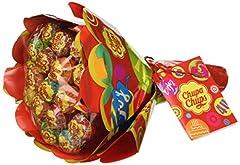 Idea Regalo - Chupa Chups Lecca Lecca Flower Bouquet, Lollipop Frutti Assortiti Gusto Limone, Arancia, Fragola, Mela, Anguria e Ciliegia, 19 Lollipops Monopezzi