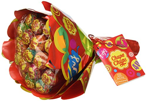 Chupa Chups Flower Bouquet, Lollipop Gusti Fruitti Assortiti al Limone, Arancia, Fragola, Mela, Anguria e Ciliegia, Bouquet da 19 lecca lecca Monopezzo, Ottimo come Idea Regalo