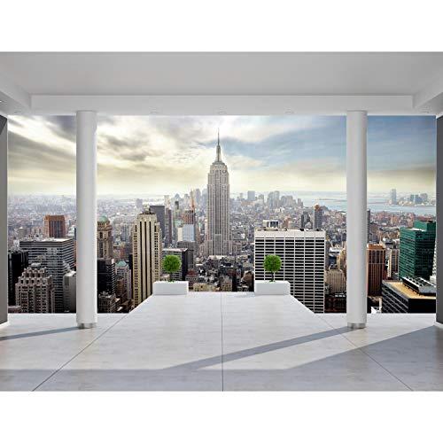 Fototapeten 396 x 280 cm Balkon New York | Vlies Wanddekoration Wohnzimmer Schlafzimmer | Deutsche Manufaktur | Blau 9204012a