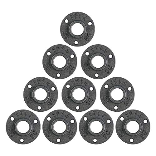 10Pcs 3/4-inch Floor Flange Pipe Decor Grey Malleable Cast Iron Retro Decor Furniture DIY Wall Industrial Plumbing by E-UNIONA