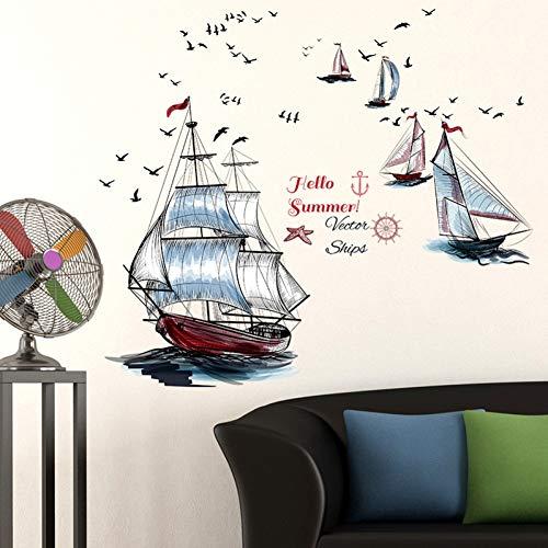 CSCZL Gemalte Segelboot Nautische Wandaufkleber Home Decor WohnzimmerKünstlerische wasserdichte Badezimmer Hintergrund Wanddekoration