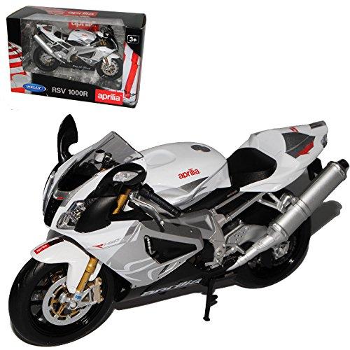 Welly Aprilia RSV 1000R Weiss Silber 1/10 Modell Motorrad mit individiuellem Wunschkennzeichen