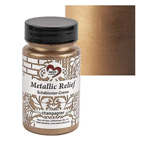Ideen mit Herz Schablonier-Creme Metallic Relief | feine Strukturpaste | Schablonierfarbe | Schablonierpaste | 90 ml | auf Wasserbasis (Champagner)