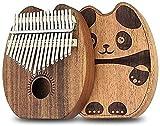 Gymqian Condo Arpa Thumb Piano Dedo Thumb Piano Oso Patrón 17 Llaves Koa Madera Cuerpo Caoba Thumb Thumb Piano Principiante Mbira con Estuche Protector Exquisito