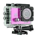 Videocámara de cámara de acción Deportiva WiFi con Caja de Carcasas Impermeables, Pantalla de 170 Grados de Gran Angular de 2.0 Pulgadas (Color : Rose Red)