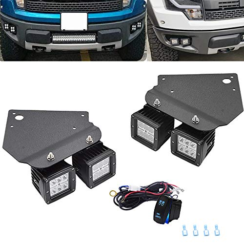 ASD 4x 3 Inch LED Dually Fog Light Pods Work Light & Hidden Bumper Mounting Bracket with Rocker Switch Compatible with 2010-2014 SVT Raptor F150 (1st Generation F-150)