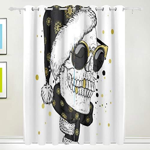 DUILLY Blackout Curtains 2 Panels Set,Schädel Brille Schal Weihnachtsmütze Vektor,wärmeisolierter Verdunkelungsvorhang für Wohnzimmer,46x54 Zoll