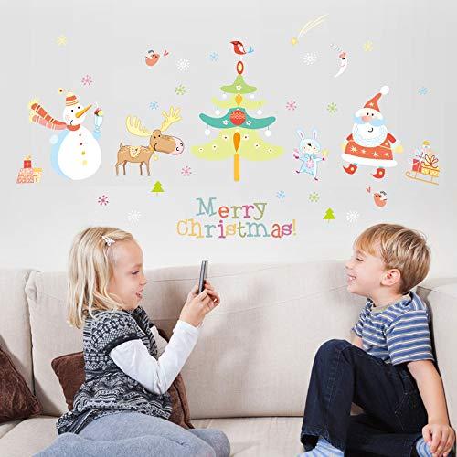 Autocollant mural Joyeux Noël Festival Stickers Muraux Pour Enfants Chambres Chambre Salon Fenêtre Stickers Muraux De Noël Bonhomme De Neige Arbre