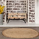 VHC Brands Oval Jute Welcome Mat, Non-Skid Rug, Natural, 20x30