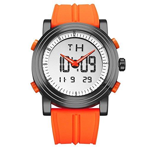 SINOBI para Hombre Reloj de Pulsera Deportivo Cuarzo electrónico Digital Reloj con Alarma Cronómetro Doble Movimiento Hombres de la muñeca Relojes s9368g (Black Case&Orange Band)