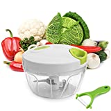 Uten Picadora de Alimentos, con Pelador para Verduras, Capacidad de 500 ML, 3 Cuchillas de Acero...