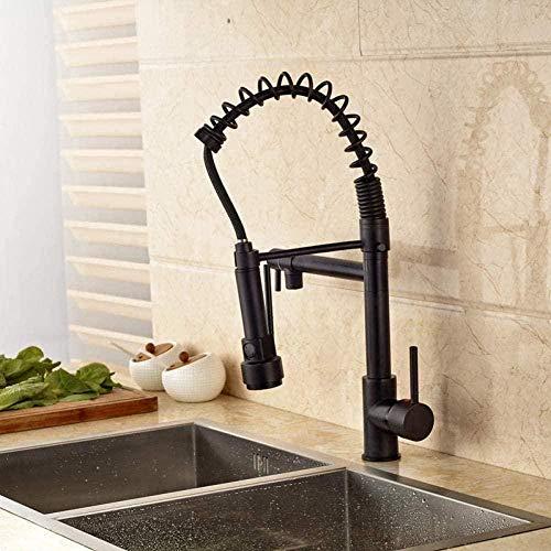 Grifo de cocina Cocina con agua fría y caliente Luz LED Resorte abatible Caño doble Baño Grifos monomando de cocina Grifo monomando de latón Grifo de cocina