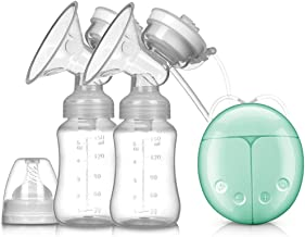 Double Electric Breast Pump Portable, Hands Free Breastpump Pain Free Message Nursing Breastfeeding Pump, 2 Modes 9 Suction Levels Milk Pump Extractor for Mom's Comfort,Green