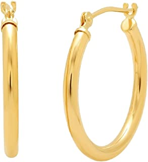 14K Yellow or White Gold 3/4 inch Round Hoop Earrings