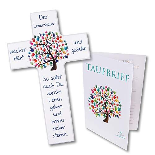 Fritz Cox Kinder-Set: Kinderkreuz mit Taufbrief Lebensbaum Taufe (weiß, 15cm)