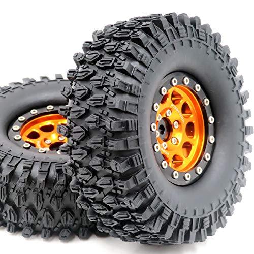 hobbysoul 2 Stück RC 1.9 Super Swamper Crawler Mud Reifen Reifen höhe 108mm & Aluminium 1.9 Beadlock Rad Felge Gold / Schwarz Farbe