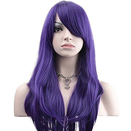 "YOPO 28"" Wig Long Big Wavy Hair Women Cosplay Party Costume Wig(Purple)"