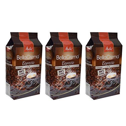 Melitta BellaCrema Espresso, 100 % Arabica, Ganze Kaffeebohnen, 1000g, 3er Pack (3 x 1kg)