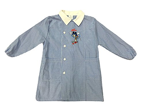 Disney Grembiule Celeste a Quadretti Prodotto Originale Micky Mouse Topolino Scuola elementare Materna (TG.55)