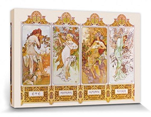 1art1 67512 Alphonse Mucha - Die Vier Jahreszeiten, 1896 Poster Leinwandbild Auf Keilrahmen 120 x 80...