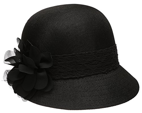 EPOCH Women's Gatsby Linen Cloche Hat with Lace Band and Flower - Black
