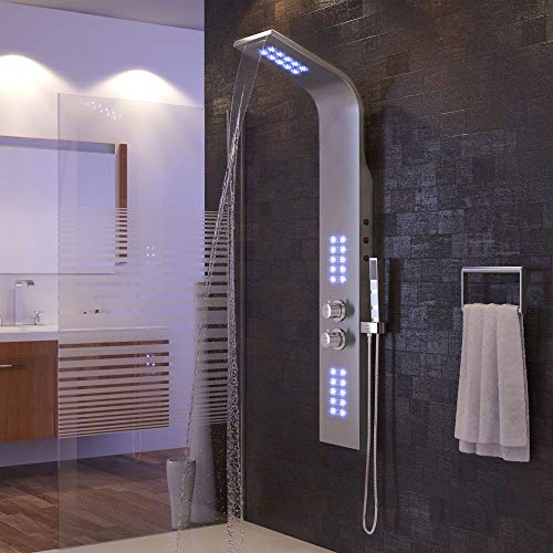 duschsäule, duschpaneel edelstahl, duschsystem, 38 ° sicherheitsverriegelung, lila LED-Licht, 136 * 22 * 7 cm