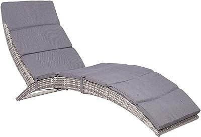 Daonanba Outdoor Folding Sun Lounger Garden Furniture Poly Rattan Gray